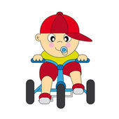Boy driving a tricycle — Stock Vector