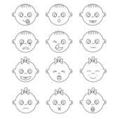 Expressions de visage de bébé — Vecteur