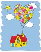 Haus mit luftballons fliegen — Stockvektor
