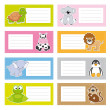 Back to school stickers with cute animals — Stock Vector
