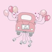 只是到他们的蜜月驾驶的车上结婚 — 图库矢量图片