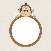 Picture frame or text. Monkey — Stock Vector