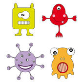 Cute and Friendly Monster and Character Set! — Stock Vector