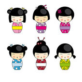 Kokeshi dolls — Stock Vector