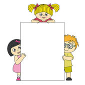 Kids with blank banners for your message — Stock Vector