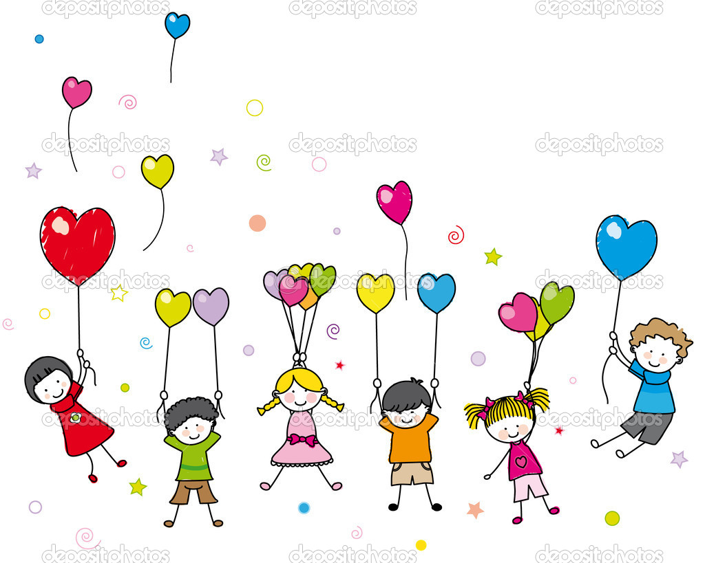 Children playing with balloons stock illustration