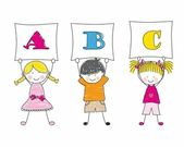Illustration of Kids Posing with alphabet — Stock Vector