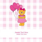 Greeting card. Pink card with a bear with three heart-shaped balloons — Stock Vector