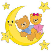 Two bears sitting on the moon — Stock Vector
