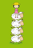 White sheep with a girl sitting on — Stock Vector