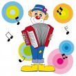 Stock Vector: Clown playing accordion