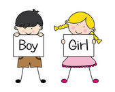 Boy and girl — Vecteur