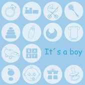 Baby boy arrival announcement card — Stock Vector
