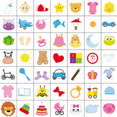 Baby icons in color — Stock Vector