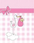 Stork with newborn baby — Stock Vector