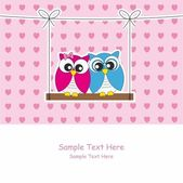 Valentine Card. Couple of owls in love. — Stok Vektör