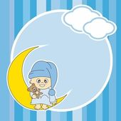 Setting baby boy sitting on the moon. Frame — Stock Vector