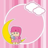 Setting baby girl sitting on the moon. Frame — Stock Vector