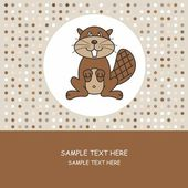 Greeting card. beaver — Stock Vector