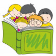 Children reading a book — Stock Vector