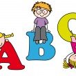 Stock Vector: Children playing and learning alphabet