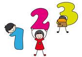 Barn spela och lära sig siffrorna — Stockvektor