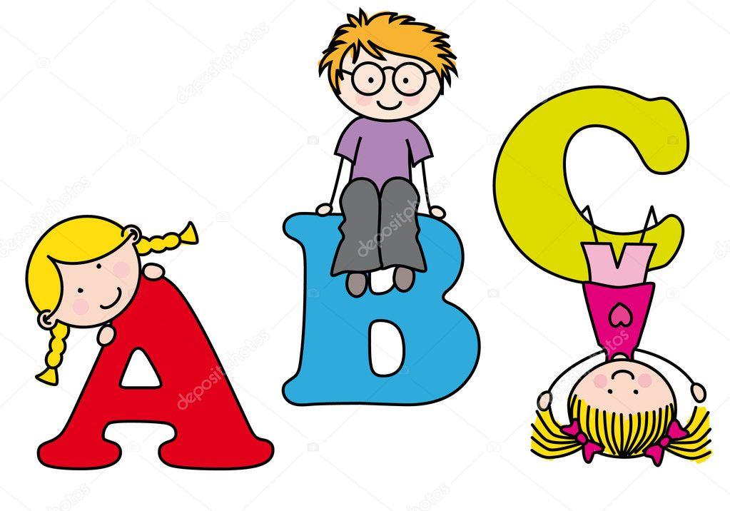 Ni os jugando y aprendiendo el alfabeto vector de stock for Aprendiendo y jugando jardin infantil