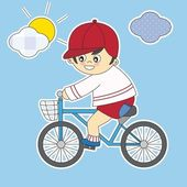 Child on a bicycle — Stock Vector