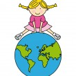Girl with globe — Stock Vector