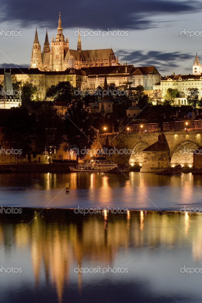 Prague Castle at night  Stock Photo #9619051