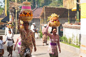 Balinese Woman Carrying Offerings On Her Head — Stock Photo