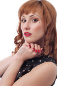 Girl's with red curls retro portrait — Stock Photo