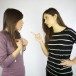 Girl discussing and fighting — Stock Photo