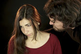Woman attached by scary man — Stock Photo