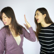 Girls shouting at each other — Stock Photo