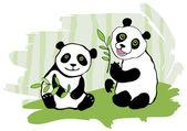 Two pandas. — Stock Vector