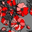 Red poppies on gray background. Seamless pattern — Stok Vektör