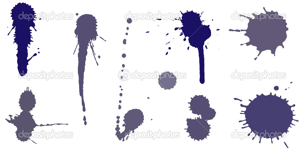 Set of ink splashes. Vector illustration — Stock Vector #8006942