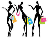 Illustration a shopping women with bags — Stock Vector