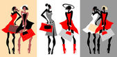 Beautiful Retro Fashion women set. — Stock Vector