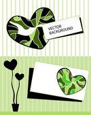Karta strom stylizované srdce a textem — Stock vektor