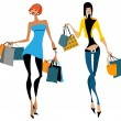 Two women with shopping bags — Image vectorielle