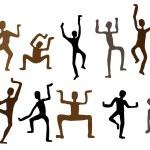 Abstract ethnic dance men. Vector Illustration — Stock Vector