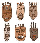 African Masks set. Vector Illustration — Stock Vector
