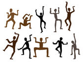 Hombres de danza étnica abstracta. ilustración vectorial — Vector de stock