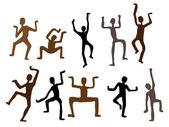 Uomini di danza etnica astratta. illustrazione vettoriale — Vettoriale Stock