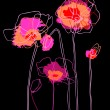 Pink  poppies on a black background — Stock Vector