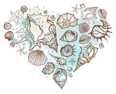 Heart of the shells. Hand drawn vector illustration — Stock Vector