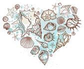 Heart of the shells. Hand drawn vector illustration — Stock Vector