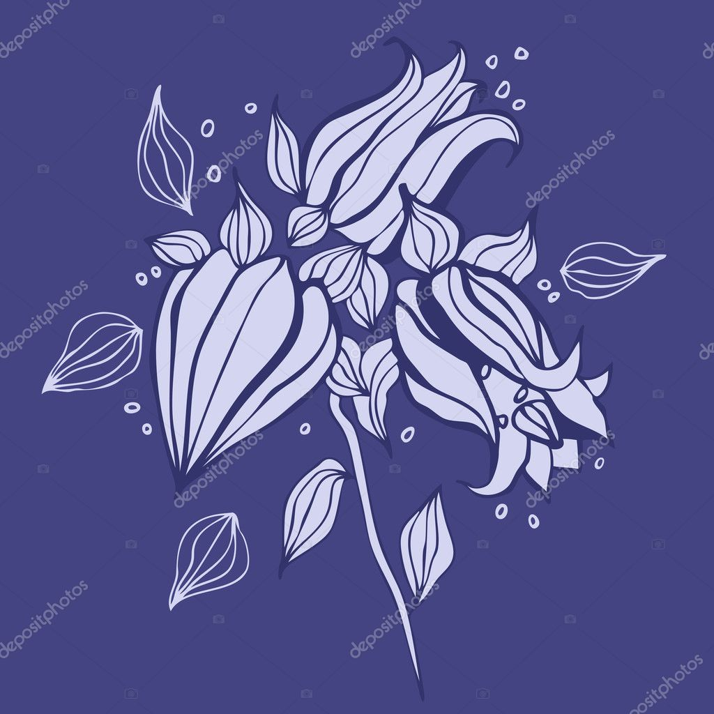 Beautiful purple flower. Hand drawn vector illustration  Stock Vector #9331079